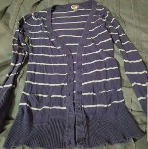 Purple and white striped target cardigan